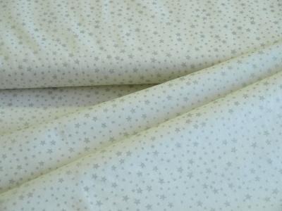 Látky Patchwork - Stříbrné hvězdičky na bílém podkladu