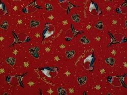 Látky Patchwork - Ptáčci na tmavě červeném podkladu