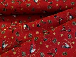 123567-5019 Ptáčci na tmavě červeném podkladu -