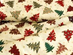 123564-5004 Vánoční stromky na smetanovém podkladu -