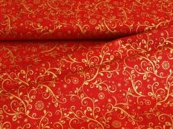 Látky Patchwork - Ornamenty na červeném podkladu