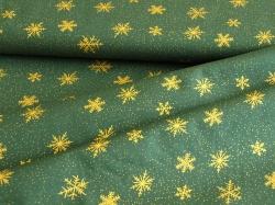 122351-1072 Vločky na tmavě zeleném podkladu -