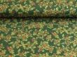 Látky Patchwork - Listy cesmíny na tmavě zeleném podkladu