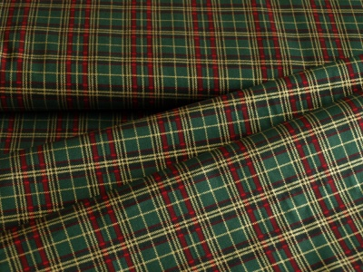 Látky Patchwork - Skotská kostka- tmavě zelená