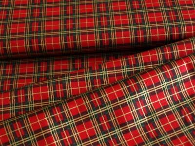 Látky Patchwork - Skotská kostka- tmavě červená