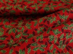 Látky Patchwork - Listy cesmíny na tmavě červeném podkladu