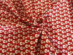 Látky Patchwork - Sněhuláci na červeném podkladu