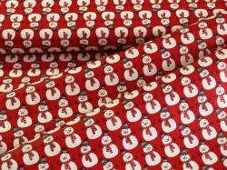 126759-5019 Sněhuláci na červeném podkladu -