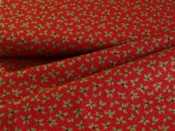 Látky Patchwork - Lístky cesmíny na červeném podkladu