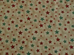 Látky Patchwork - Hvězdičky na světle hnědém podkladu