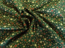 Látky Patchwork - Hvězdičky na tmavě zeleném podkladu