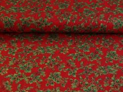 Látky Patchwork - Listy cesmíny na červeném podkladu