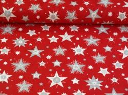 Látky Patchwork - Hvězdy na červeném podkladu