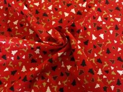 Látky Patchwork - Stromky na červeném podkladu