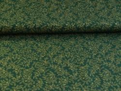 Látky Patchwork - Zlaté listy na tmavě zeleném podkladu