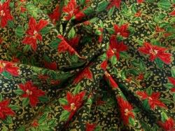 Látky Patchwork - Vánoční hvězda na tm. zeleném podkladu