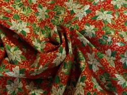 Látky Patchwork - Vánoční hvězda na tm. červeném podkladu