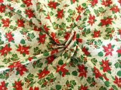 Látky Patchwork - Vánoční hvězda na bílém podkladu