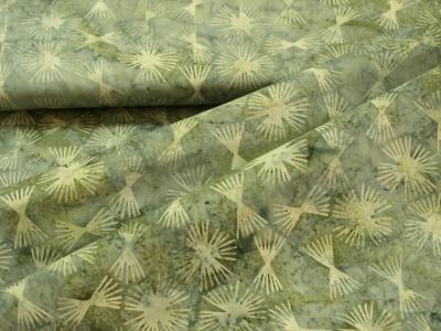 Látky Patchwork - Geometrie na šedo-zeleném podkladu