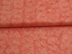 Látky Patchwork - Motýli na růžovém podkladu