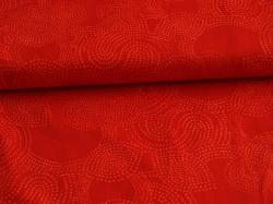 Látky Patchwork - Geometrické vzory na červeném podkladu
