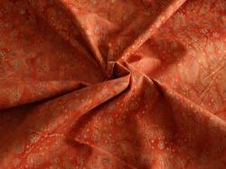 Látky Patchwork - Ornamenty na oranžovo-červené