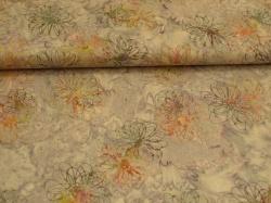 Látky Patchwork - Květy na fialovém podkladu
