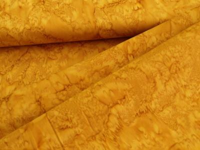Látky Patchwork - Hořčicově žlutá batika