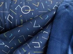 128419-3001 Teplákovina s fleecem - geometrické tvary -  Teplákovina s jemným fleecem na spodní straně