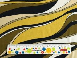 Látky Patchwork - Žluto-černá grafika na bílém podkladu