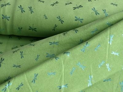 Látky Patchwork - Vážka na světle zeleném podkladu