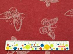 Látky Patchwork - Motýli na červeném podkladu