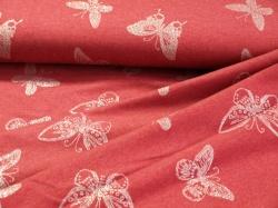 128512-3001 Motýli na červeném podkladu - Teplákovina se třpytivým potiskem