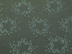 Látky Patchwork - Modré hvězdy na šedém podkladu