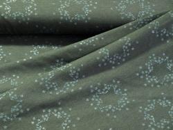 128514-3001 Modré hvězdy na šedém podkladu -  Teplákovina se třpytivým potiskem