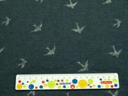 Látky Patchwork - Vlaštovky na tmavě modrém podkladu