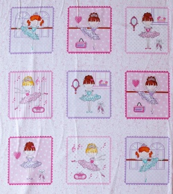 805-037 Panel 63 cm- panenky na růžovém podkladu -