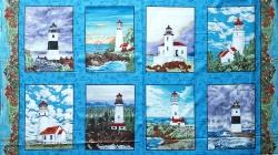 Látky Patchwork - Panel 60 cm - majáky na modrém podkladu