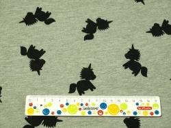 Látky Patchwork - Černý jednorožec ne šedém podkladu