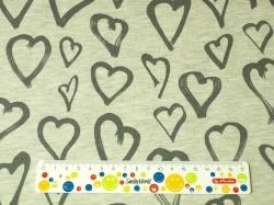 Látky Patchwork - Srdce na šedém podkladu