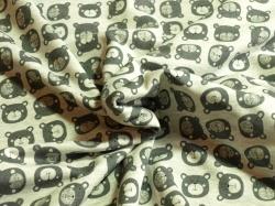 Látky Patchwork - Medvědi na šedém podkladu