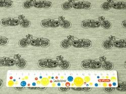 Látky Patchwork - Motorky na šedém podkladu