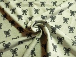 Látky Patchwork - Medvídek koala na šedém podkladu