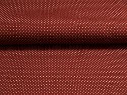 Látky Patchwork - Puntíky na vínově červeném podkladu