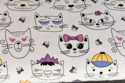 Látky Patchwork - Kočky na bílém podkladu - měnící barvy