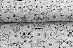 Látky Patchwork - Kočky na šedém podkladu - měnící barvy