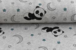 Látky Patchwork - Panda na šedém podkladu - měnící barvy