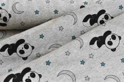 171121-3 Panda na šedém podkladu - měnící barvy  - při nasvícení na slunci se látka zbarví