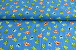 Látky Patchwork - Žáby na modrém podkladu
