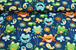 Látky Patchwork - Žáby na tm. modrém podkladu